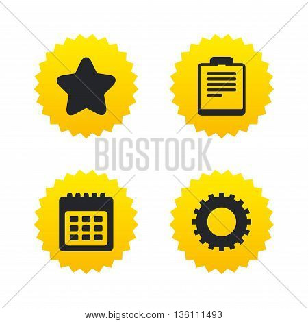 Calendar and Star favorite icons. Checklist and cogwheel gear sign symbols. Yellow stars labels with flat icons. Vector