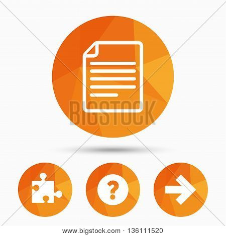 Question mark and puzzle piece icons. Document file and next arrow sign symbols. Triangular low poly buttons with shadow. Vector