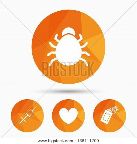 Bug and vaccine syringe injection icons. Heart and spray can sign symbols. Triangular low poly buttons with shadow. Vector