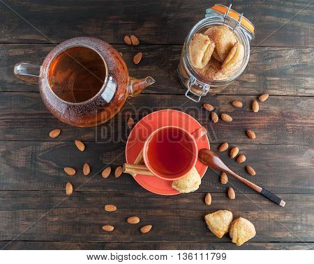 Cottage Cheese Cookies In A Jar And Black Tea