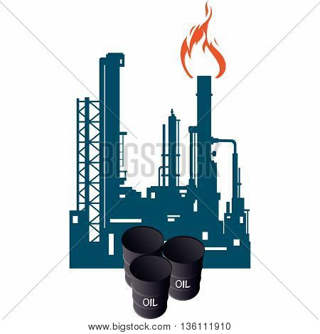 Barrels of oil on the background of the oil refinery. The illustration on a white background.