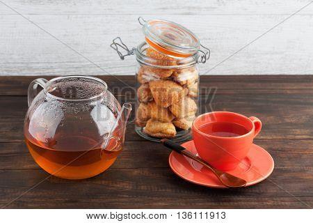 Sweet Pastry Cookies With Black Tea