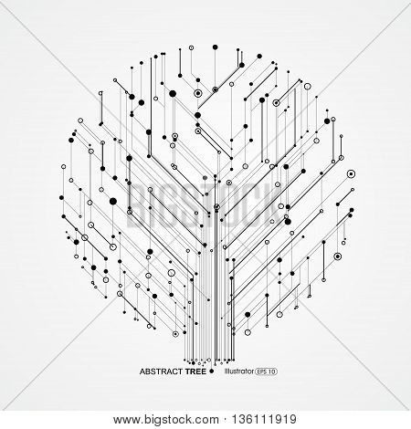 Tree circuit consisting of,Technological sense, Abstract graphics.