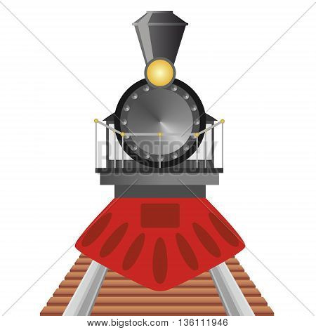 Old steam locomotive travels by rail. The illustration on a white background.