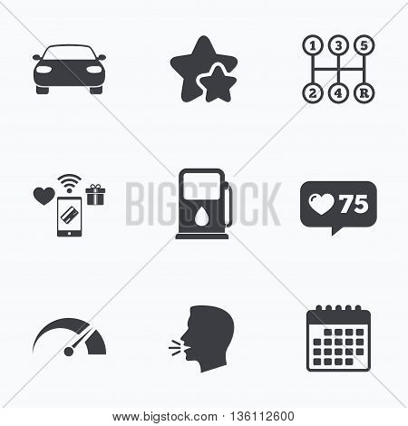 Transport icons. Car tachometer and manual transmission symbols. Petrol or Gas station sign. Flat talking head, calendar icons. Stars, like counter icons. Vector