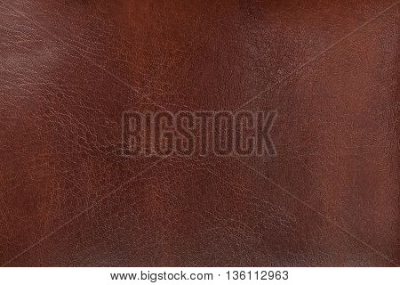 Natural texture of aged brown leather. Closeup.