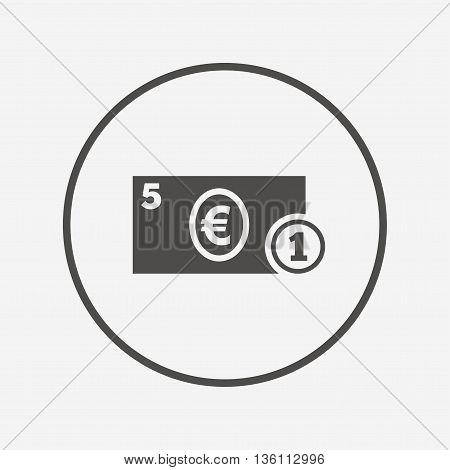 Cash sign icon. Euro Money symbol. Coin. Flat cash icon. Simple design cash symbol. Cash graphic element. Round button with flat cash icon. Vector