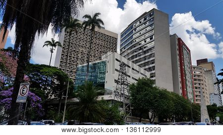 Belo Horizonte Central. Centro city, big buildings, beautiful palm trees.