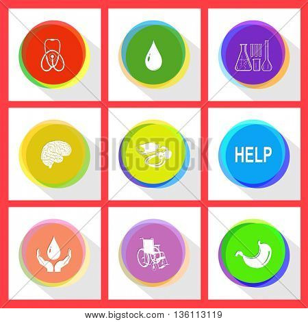 9 images: stethoscope, drop, chemical test tubes, brain, blood pressure, help, protection blood, invalid chair, stomach. Medical set. Internet template. Vector icons.