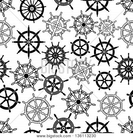 Decorative nautical navigation seamless background with black and white pattern of vintage sailing ships helms and steering wheels. May be use as marine theme or scrapbook page backdrop design
