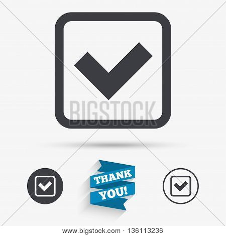 Check mark sign icon. Yes square symbol. Confirm approved. Flat icons. Buttons with icons. Thank you ribbon. Vector
