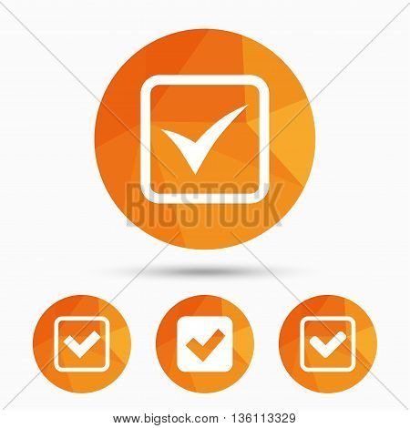 Check icons. Checkbox confirm squares sign symbols. Triangular low poly buttons with shadow. Vector