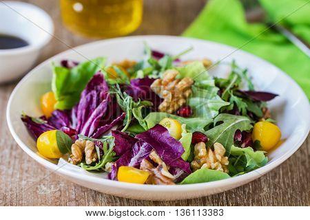 Radicchio with Rocket, Walnut and Pomegranate salad