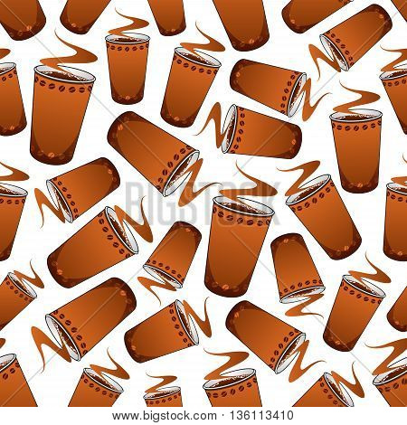 Seamless fast food coffee pattern background of fresh and strong espresso in brown paper cups, adorned by rows of coffee beans. Coffee shop or kitchen interior design usage