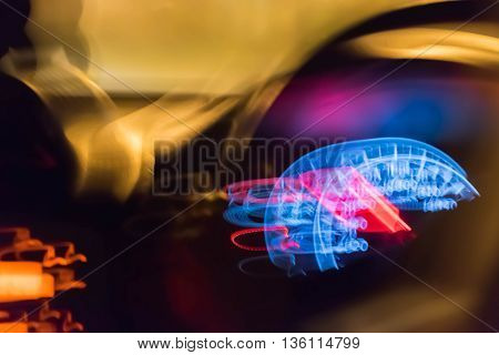 blur light of speed gauge at night.