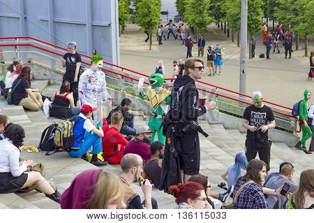 London England - May 27 2016: The MCM London Comic Con at ExCeL London in England on the 27th of May 2016.