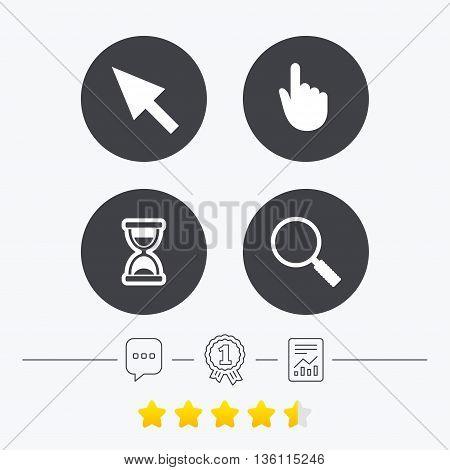 Mouse cursor and hand pointer icons. Hourglass and magnifier glass navigation sign symbols. Chat, award medal and report linear icons. Star vote ranking. Vector