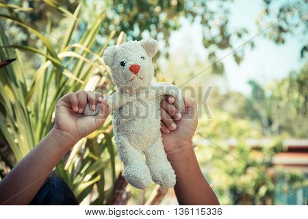 Lift BEAR doll with vintage tone background