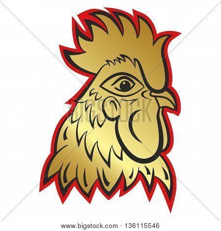 Rooster logo mascot. rooster head vector illustration foil
