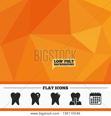 Triangular low poly orange background. Dental care icons. Caries tooth sign. Tooth endosseous implant symbol. Calendar flat icon. Vector