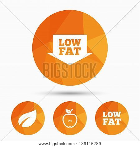 Low fat arrow icons. Diets and vegetarian food signs. Apple with leaf symbol. Triangular low poly buttons with shadow. Vector