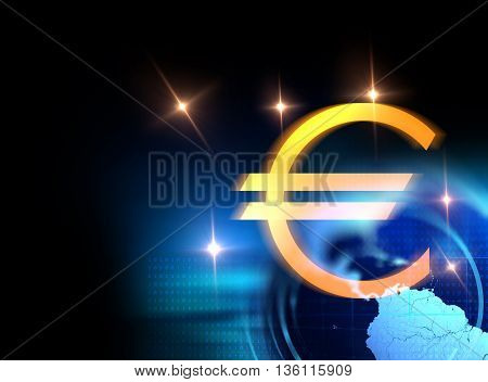 3D Rendering Of Euro And European Union Sign On Technology Background