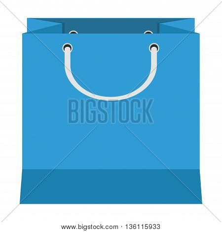 flat design blue shopping bag with handle icon vector illustration