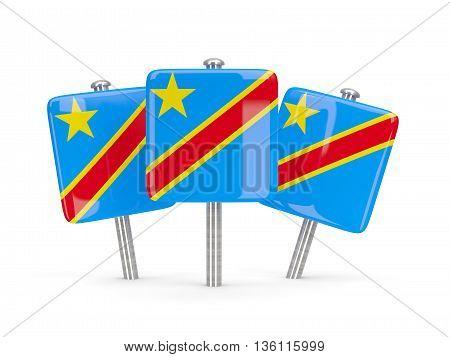 Flag Of Democratic Republic Of The Congo, Three Square Pins