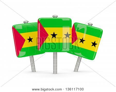 Flag Of Sao Tome And Principe, Three Square Pins