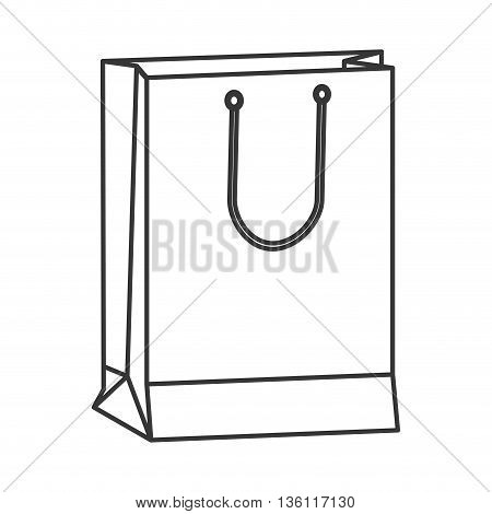 simple black line shopping bag with handle icon vector illustration