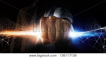Man catch stream of light . Mixed media