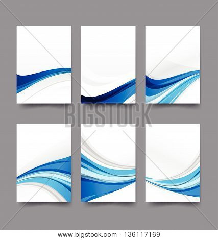 Abstract background collection of curve wave blue and white background vector illustration eps10
