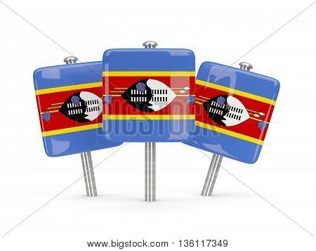 Flag Of Swaziland, Three Square Pins