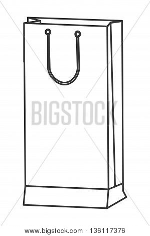 simple black line tall narrow shopping bag with handle icon vector illustration