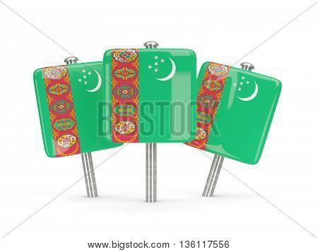 Flag Of Turkmenistan, Three Square Pins