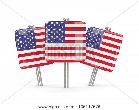 Flag Of United States Of America, Three Square Pins