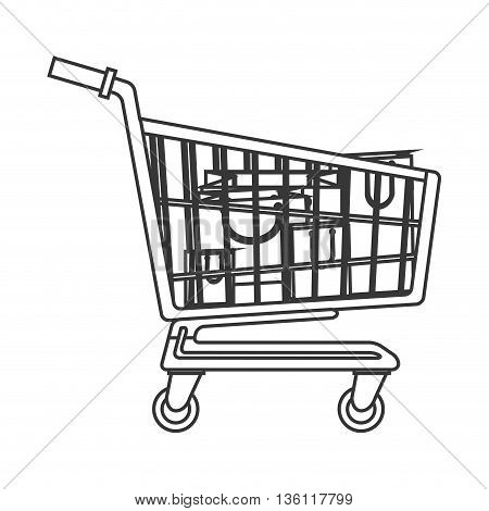 simple black line cart with bags inside vector illustration
