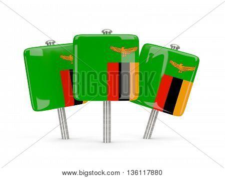 Flag Of Zambia, Three Square Pins