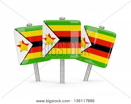 Flag Of Zimbabwe, Three Square Pins