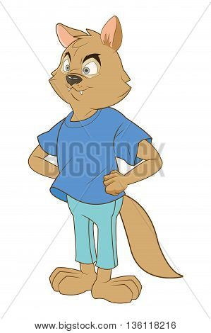 flat design full body squirrel cartoon wearing tshirt and jeans vector illustration