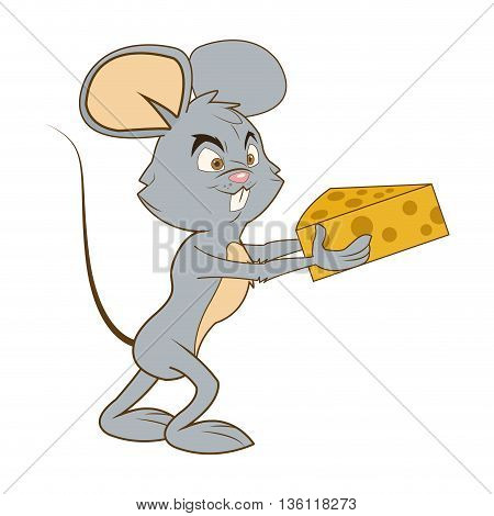 flat design full body mouse cartoon holding cheese vector illustration