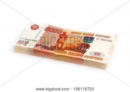 pack of Russian paper money as part of a business