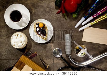Coffee Vegetables Party Supplies medicines sweets on a wooden table
