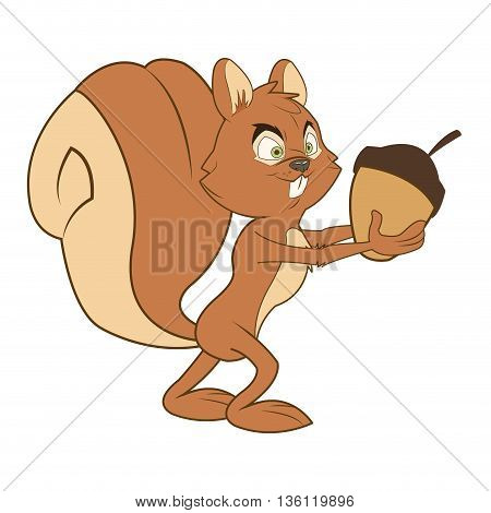 flat design squirrel cartoon holding acorn vector illustration
