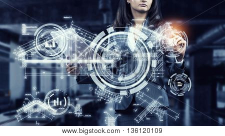 Woman using modern technologies for business . Mixed media