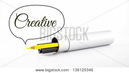 Yellow Pencil Outstanding From Black Pencil With Speech Bubble And Word