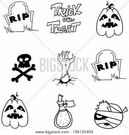 Element Halloween pumpkins skull tomb vector illustration
