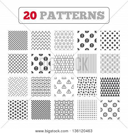 Ornament patterns, diagonal stripes and stars. Attention icons. Exclamation speech bubble symbols. Caution signs. Geometric textures. Vector