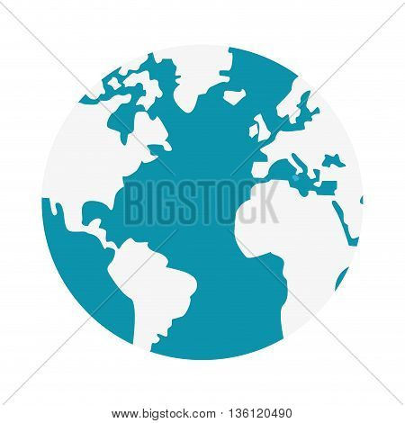 simple flat design blue and white earth globe with distinction between land and water icon vector illustration
