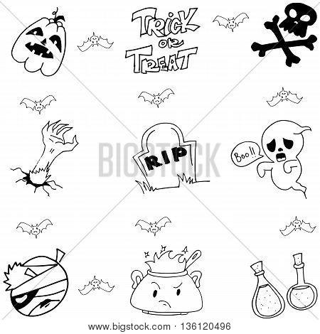 Halloween doodle vector art element ghost zombie